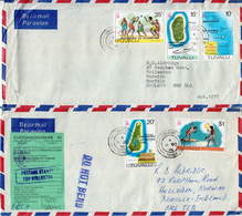 Postal History: Tuvalu 2 Covers With Overprinted Definitive Stamps - Tuvalu