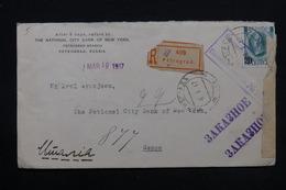 RUSSIE - Enveloppe En Recommandé De Pétrograd Pour L 'Italie En 1917 Avec Contrôle, Affranchissement Plaisant - L 28102 - Covers & Documents