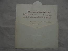 Ancien Faire-part De Naissance DULIEU-GOSSELIN Année 1934 - Naissance & Baptême