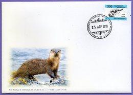 Kazakhstan 2019. FDC.  Fauna. Red Book Of Kazakhstan. Eurasian River Otter. - Kazakhstan