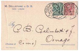 AN146   Regno 1920 Cartolina M.Dellepiane Novi Ligure Per Osnago - Storia Postale