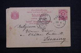 SIAM - Entier Postal De Bangkok Pour La Belgique En 1900 - L 28107 - Siam