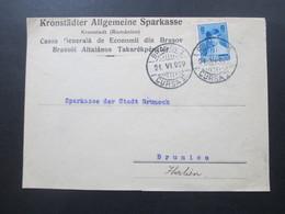 Rumänien 1929 Brief Der Kronstädter Allgemeine Sparkasse Kronstadt / Brasov Cursa II Nach Brunico Italien - Covers & Documents