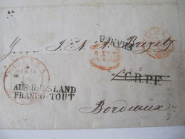 MARQUE POSTALE  LETTRE  RIGA  Vers  BORDEAUX   1845 - Marcophilie (Lettres)