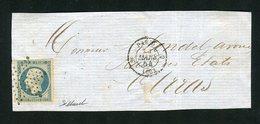 Devant De Lettre De Paris Pour Arras ( 1854 ) Avec Un N° 10 Bleu Laiteux - 1852 Luigi-Napoleone
