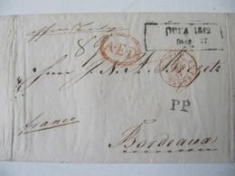 MARQUE POSTALE  LETTRE  RIGA  Vers  BORDEAUX   1842 - Marcophilie (Lettres)