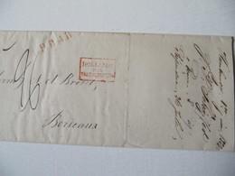 MARQUE POSTALE  LETTRE  HAMBOURG  Vers  BORDEAUX   1838 - Marcophilie (Lettres)
