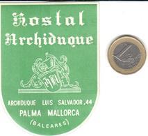 ETIQUETA DE HOTEL  - HOSTAL ARCHIDUQUE  -PALMA DE MALLORCA  -ISLAS BALEARES - Hotel Labels