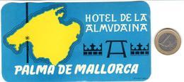 ETIQUETA DE HOTEL  - HOTEL DE LA ALMUDAINA  -PALMA DE MALLORCA  -ISLAS BALEARES - Hotel Labels