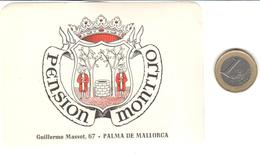 ETIQUETA DE HOTEL  -PENSION MONTIJO  -PALMA DE MALLORCA  -ISLAS BALEARES - Etiquetas De Hotel
