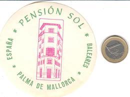 ETIQUETA DE HOTEL  -PENSION SOL  -PALMA DE MALLORCA  -ISLAS BALEARES - Hotel Labels