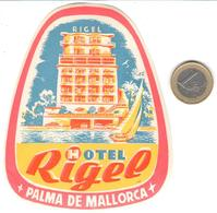 ETIQUETA DE HOTEL  -HOTEL RIGEL  -PALMA DE MALLORCA  -ISLAS BALEARES - Hotel Labels