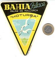 ETIQUETA DE HOTEL  -BAHIA PALACE  -PALMA DE MALLORCA  -ISLAS BALEARES - Hotel Labels