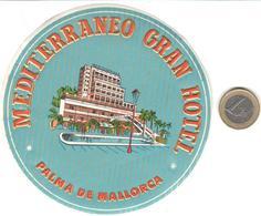 ETIQUETA DE HOTEL  -MEDITERRANEO GRAN HOTEL  -PALMA DE MALLORCA  -ISLAS BALEARES - Hotel Labels