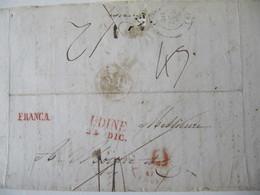 MARQUE POSTALE  LETTRE  UDINE   Vers  BORDEAUX   1842 - Marcophilie (Lettres)