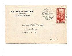ITALIE LETTRE DE TURIN POUR LA FRANCE 1952 - Marcophilie - EMA (Empreintes Machines)