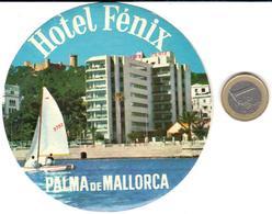 ETIQUETA DE HOTEL  -HOTEL FENIX  -PALMA DE MALLORCA  -ISLAS BALEARES - Hotel Labels
