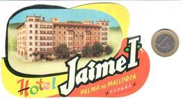 ETIQUETA DE HOTEL  -HOTEL JAUM E I  -PALMA DE MALLORCA  -ISLAS BALEARES - Hotel Labels