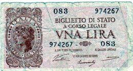 Italie: Billet De 1 Lire, Biglietto Di Stato, Una Lira, 1944 En B - - [ 1] …-1946 : Kingdom