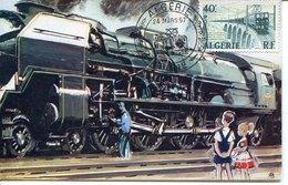44660 Algerie, Special Postmark 1957 Bone,  Locomotive, - Trenes