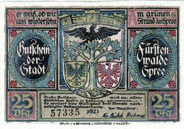 Billet De Nécessité Allemand De 25 Pfennig 1921 - [ 3] 1918-1933: Weimarrepubliek