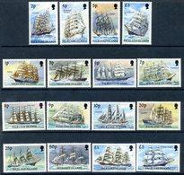 Falkland Islands 1989 Cape Horners Sailing Ships Definitives Set Of 16, MNH, SG 567/82 - Falkland
