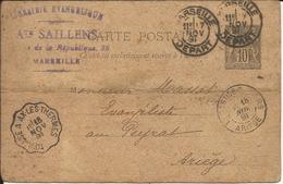 Entier Postal , 10 C , Type Sage , 1891 , N° YT 89 - CP3 , Cachets De MARSEILLE ( Départ ) & TOULOUSE A AX LES THERMES - Postal Stamped Stationery