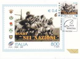 Italy 2000 Rugby Torneo Sei Nazioni Italia V Inghilterra Special Postmark Maximum Card - 6. 1946-.. Republic