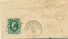 """Belgique Cachet Facteur """" BS """" BELVAUX Sur Lettre Affrt N°30 Obl """"312 """" + """" ROCHEFORT 23/12/70 """" Pour WELLIN - 1869-1883 Leopold II"""