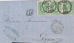 """Belgique N°30 BANDE De 3 Sur Lettre > Lyon France - Cachet Entrée """" BELG. A ERQUELINES 9/7/74 """" - 1869-1883 Leopold II"""