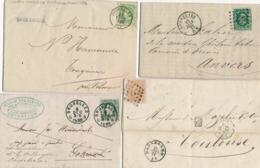 Belgique Lot De 4 Lettres Avec N°30 Et 33a  Dt Cachet SOMBREFFE - A Etudier - 1869-1883 Leopold II