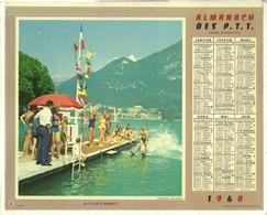 Calendrier PTT Double 1960 - La Plage D'Annecy - Téléphérique à L'Alpe D'Huez - Calendriers