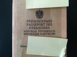 PASSEPORT DES ÉTRANGERS DE LA RÉPUBLIQUE D AUTRICHE NATIONALITÉ APATRIDE PASSPORT PASPOORT VISA BELGIQUE TIMBRE FISCAL - Documents Historiques