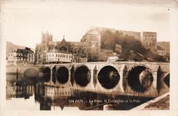 Belgique Huy Le Pont La Collegiale Et Le Fort + Timbre Cachet Huy1937 Cpa Carte Photo - Hoei