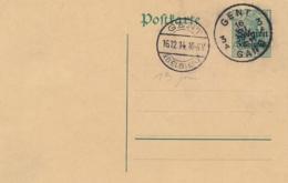 """Obl Cachet Allemand """" GENT ( BELGIEN ) Du 16/12/14 Gouvernement General Sur Entier 5c Sur 5pf  + GENT / GAND - Guerra 14 – 18"""