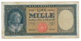 Italy 1000 Lire, 1947 , F/VF. - [ 2] 1946-… : Republiek