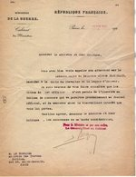 VP14.873 - MILITARIA - PARIS 1923 - Lettre Du Ministère De La Guerre Relative Au Médecin FROUSSARD ( Légion D'Honneur ) - Documents