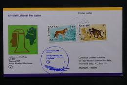 ETHIOPIE - Enveloppe 1 Er Vol Addis Ababa / Karthoum En 1976 , Affranchissement Plaisant - L 28157 - Ethiopie