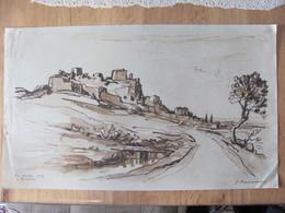 Jacques Traversier 1875 - 1935 , D'apres,  Pres Roussas En Tricastin Drome 1929 Dessin Encre - Dibujos