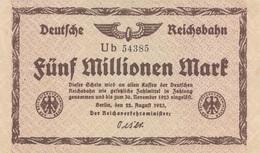 5.000.000 MARK Banknote 1923, Rückseite Ohne Druck - 1918-1933: Weimarer Republik