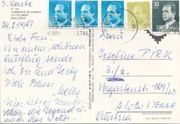 SPANIEN 1987 - 5 Fach Frankierung Auf Ak LA CALOBRA MALLORCA - 1981-90 Briefe U. Dokumente