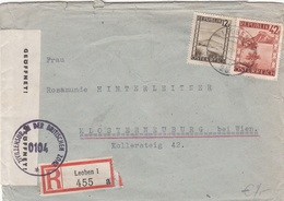 ÖSTERREICH Zensur R-Brief 1946 - 12 + 42 Gro Auf Brief Gel.1946 V. Leoben > Klosterneuburg, Transportspuren - 1945-60 Lettres