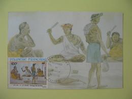 Carte Maximum 1982 Polynésie Française Papette - Peintures Du 19 ème Siècle Battage Des étoffes - Cartes-maximum