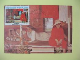 Carte Maximum 1983 Polynésie Française Papette - Peintures Du 20 ème  Siècle Battage Des étoffes - Cartes-maximum
