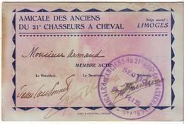 Cdv Amicale Du 21eme Chasseurs à Cheval  Limoges - Militaria
