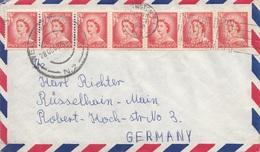 NEUSEELAND 1958 - 7 Fach Frankierung Auf Brief Gel.v. Neuseeland > Rüsselheim A.Main - Luftpost
