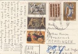 GRIECHENLAND 1970 - 5 Sondermarken Auf Ak ATHEN Der Parthenon, Gel.v. Athen > Memmingen, Transportspuren - Briefe U. Dokumente