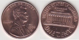 U.S.A. 1 Cent 1998D (Lincoln Memorial) Km#201b - Used - 1959-…: Lincoln, Memorial Reverse