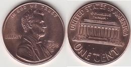 U.S.A. 1 Cent 1998D (Lincoln Memorial) Km#201b - Used - Emissioni Federali