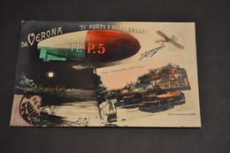 Carte Postale 1910 Saluti Da Verona Vérone Avion Ballon Dirigeable ILP5 - Autres